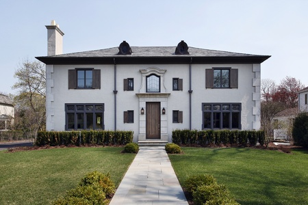 roof windows: Luxury home with rounded windows on roof Stock Photo