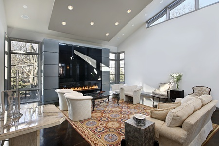 fireplace living room: Living room in modern home with glass fireplace