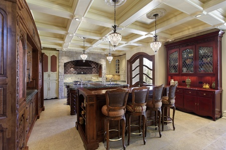 Kitchen in luxury home with two center islands photo
