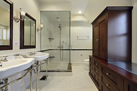 Master bath in luxury home with glass shower Stock Photo - 8792935