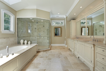 Master bath in luxury home with large glass shower photo