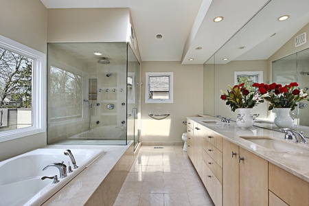 Master bath in suburban home with large glass shower photo