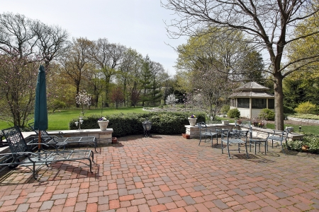 Red brick patio in spring with gazebo Stock Photo - 8793088