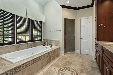 master bath: Master bath in luxury home with floor design