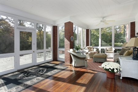 Porch in suburban home with access to patio stock photo picture
