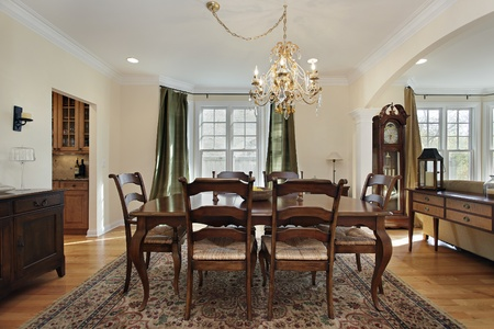 upscale: Dining room with view into butlers pantry Stock Photo