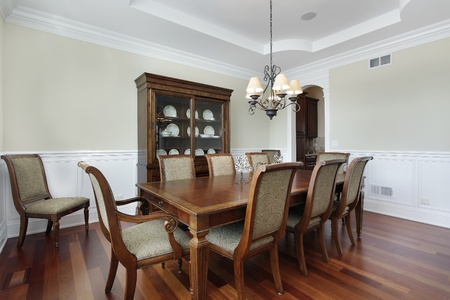 Dining room with view into pantry photo