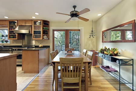 Eating area in kitchen with deck view Stock Photo - 10537567