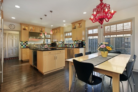 Kitchen with oak cabinetry and colored tile backsplash