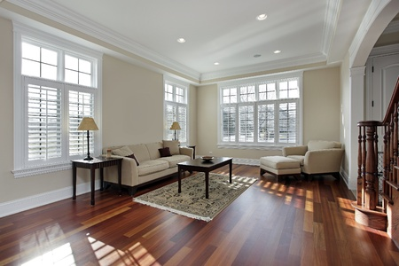 living room sofa: Living room in luxury home with cherry wood flooring Stock Photo