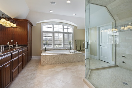 bathroom interior: Large master bath with spacious glass shower