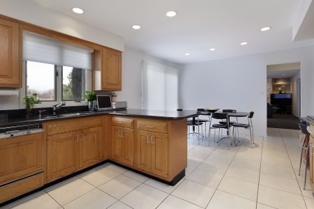 Kitchen in comtemporary home with large eating area