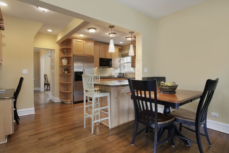 eating area: Kitchen in modern home with eating area Stock Photo