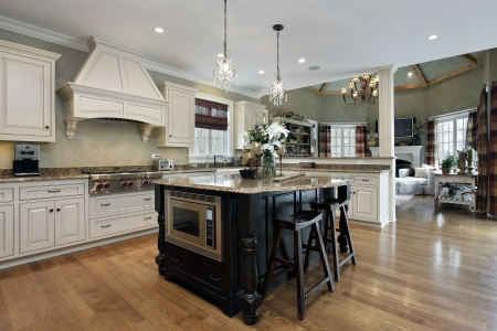 Kitchen in luxury home with white cabinetry Foto de archivo