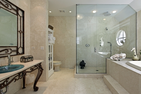 Master bath in luxury home with large step in shower photo