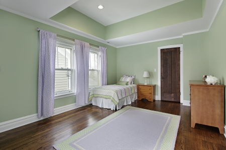 Bedroom in suburban home with green walls photo