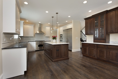 upscale: Kitchen in new construction home with center island