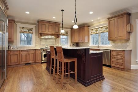 kitchen island: Modern kitchen with double decker island
