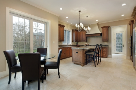 Kitchen in luxury home with granite island Editorial