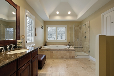 upscale: Master bath with glass shower granite counter