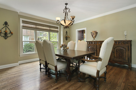 upscale: Dining room in luxury home with large buffet