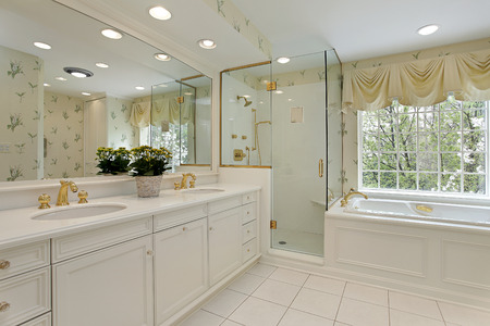 lighting fixtures: Master bath in luxuy home with glass shower