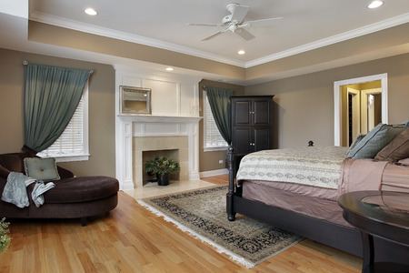 master bedroom: Master bedroom with fireplace and rug