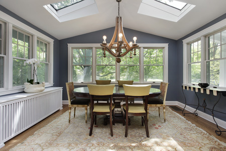 Porch in suburban home with skylights Stockfoto