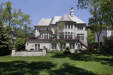 Rear view of luxury home with large patio Banque d'images