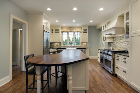 Kitchen in luxury home with wood top island