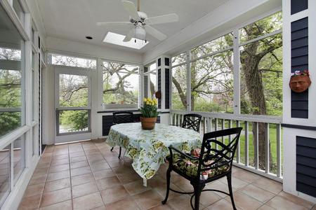 Porch in suburban home with tile floor Foto de archivo