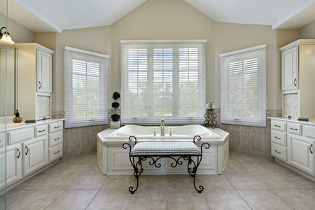 master bath: Master bath in luxury home with large bathtub