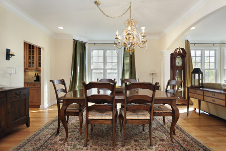 Dining room with view into butlers pantry Stock Photo