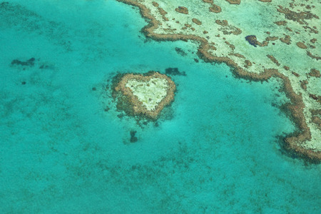 barrier: View of Heart Reef, a unique coral formation located in the Great Barrier Reef, Queensland, Australia