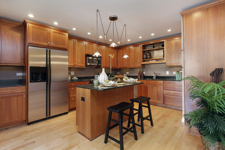 kitchen island: Kitchen in condominium with center island Stock Photo