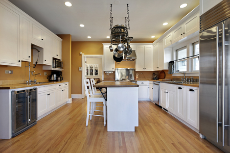 lighting fixtures: Kitchen in upscale home with gold colored walls