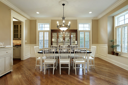 upscale: Dining room in upscale home with large buffet