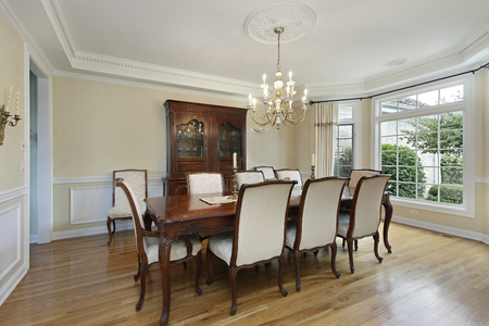 furnishings: Dining room in luxury home with large buffet