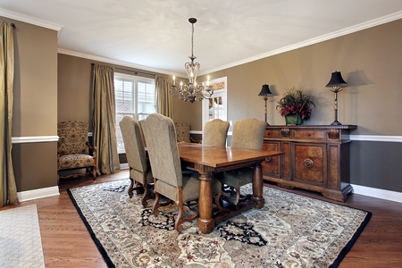 upscale: Dining room in upscale home with tan walls.