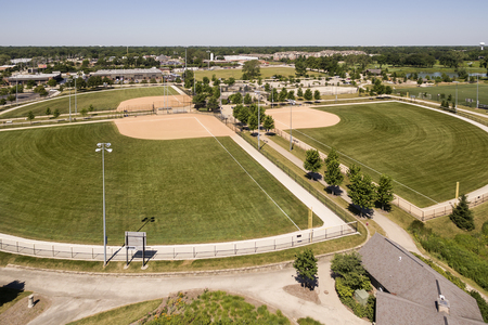 outfield: Aerial view of the Techny baseball diamond complex in the suburban community of Northbrook, Illinois in summer. Stock Photo