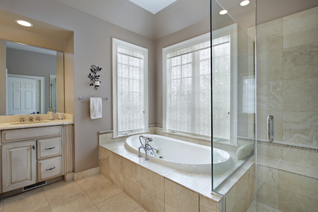 luxury living room: Master bath in luxury home with attached shower and tub.
