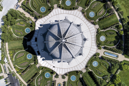 Aerial view of the Bahai Temple from straight above in Wilmette, IL using a Phantom 4 Professional quadcopter drone. USA. Redakční