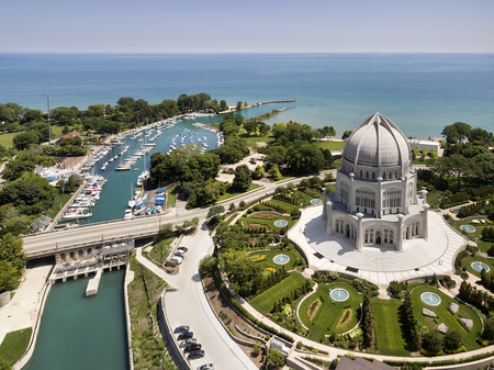 Aerial view of the Bahai Temple and Wilmette Harbor in Wilmette, IL using a Phantom 3 Professional quadcopter drone. Wilmette, IL USA.