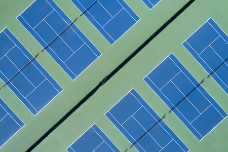 Aerial view of a group of tennis courts at a suburban high school near Chicago, Il. USA