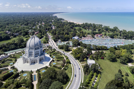 Aerial view of the Bahai Temple, harbor and shoreline in Wilmette, Illinois. USA