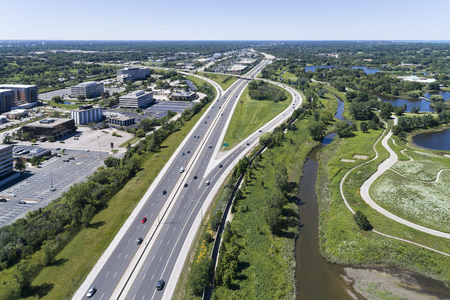 Aerial view of a highways, overpasses, ramps and buildings in the Chicago suburban area of Northbrook, IL. USA Reklamní fotografie