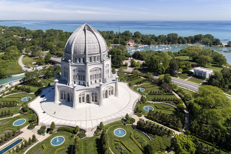 Aerial view of the Bahai Temple, harbor and Lake Michigan in Wilmette, Illinois. USA
