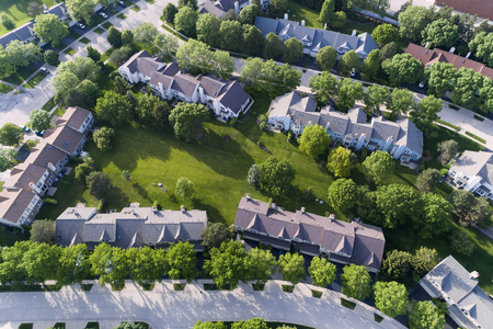 Aerial view of a townhouse complex in a Chicago suburban neighborhood in summer. Palatine, IL. USA Reklamní fotografie