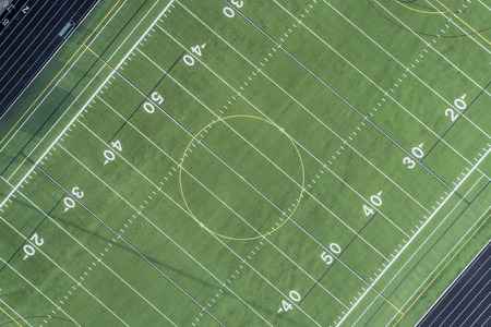 Angle aerial view of a high school football field in Palatine, IL. USA