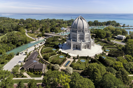 Temple Building and Lake Michigan